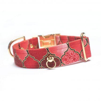 Czerwona obroża we wzór marokańskiej koniczyny
