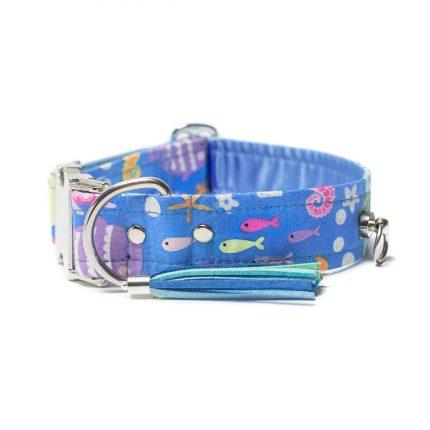 Niebieska obroża dla psa w rybki