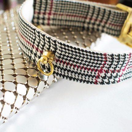 Elegancka obroża w kratkę pepitykę typu tweed / chanel