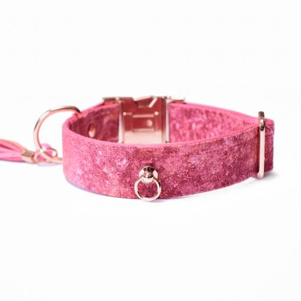 Marmurkowa, różowa obroża dla psa