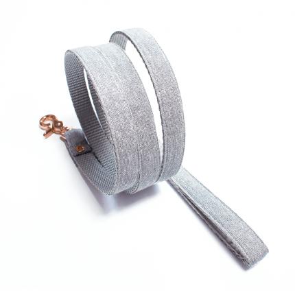 Szara, srebrna smycz dla psa - handmade