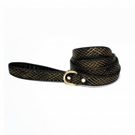 Czarno-złota smycz dla psa