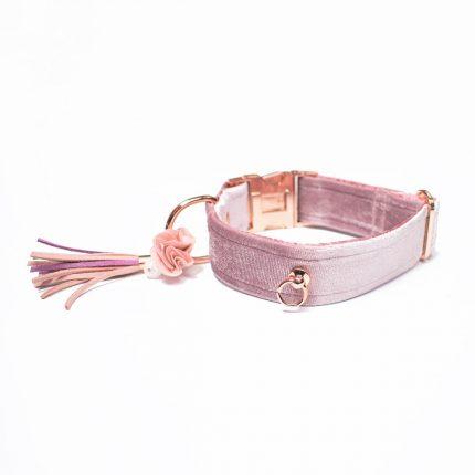 Welurowa, różowa obroża dla psa